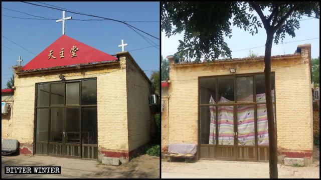 四門村鎮一天主教場所的十字架和「天主堂」牌子被拆除