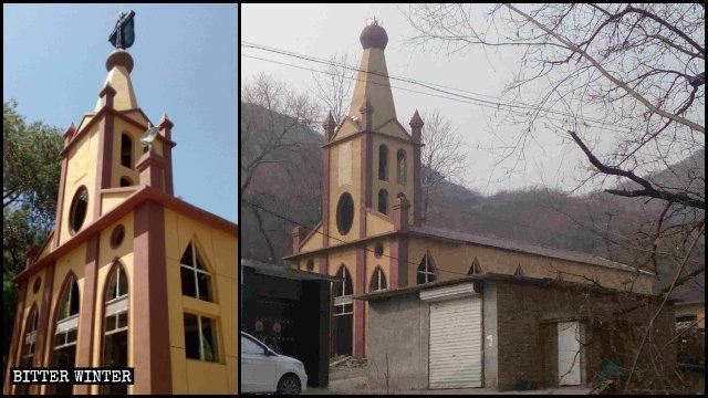 石家莊市平山縣一處地下天主堂三個十字架被拆後掛上「活動中心」的牌子