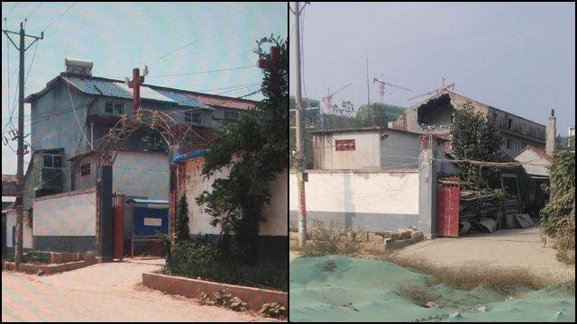 5月,臨沂市沂南縣西芙蓉三自教堂十字架被拆(知情人提供)