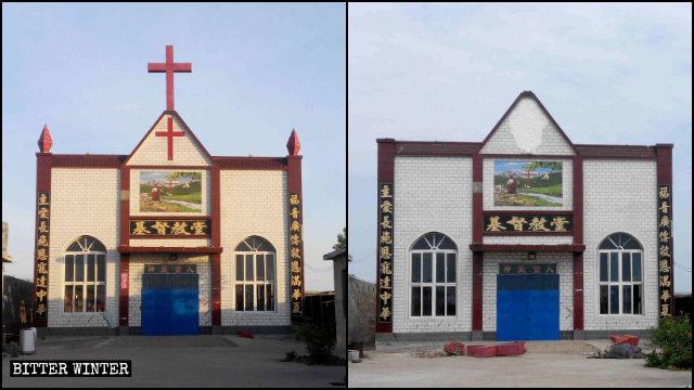 乞伏村三自基督教堂十字架被拆