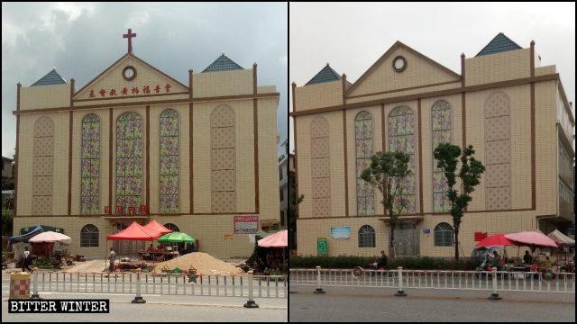 2019年12月,瑞金市黃柏鄉柏村三自教堂十字架被拆前後