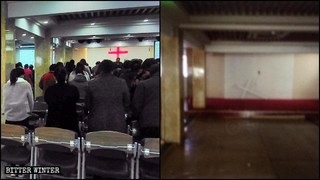 山東省臨沂市蘭山區一處家庭教會遭取締(左為記者拍攝,右為知情人提供)